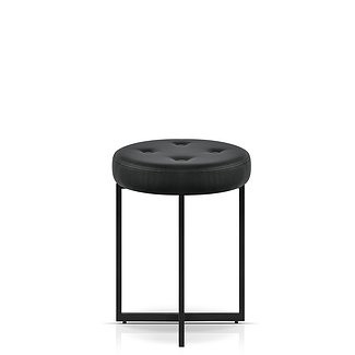 Faux Black Leather Stools