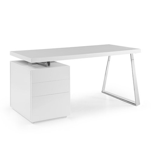 Glossy White Desk with Stainless Steel Accents