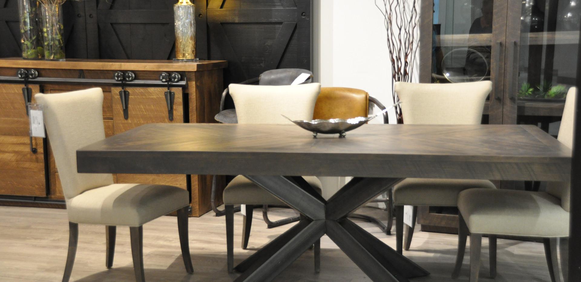 Herringbone Wood Top Dining Table