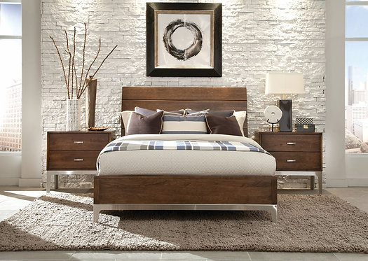 Solid Cherry & Metal base Queen Bed & Nightstands