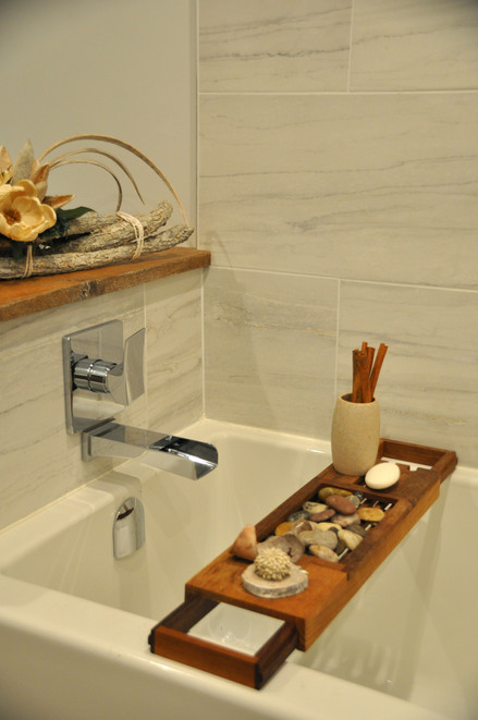 Modern Fixtures with Wood Touches
