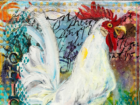 Rooster winner received her painting