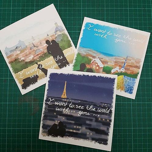 Pack 3 Valentine's Day Postcard