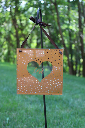 """Love"" Hanging Glass Panel"