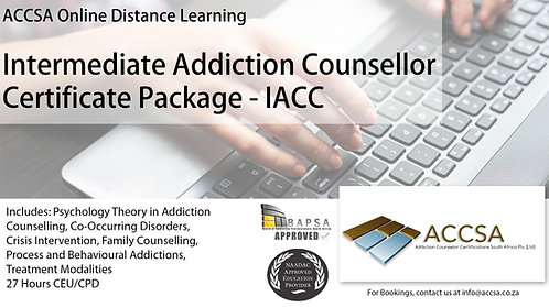Intermediate Addiction Counselling Certificate Package (IACC) 27 Hours CEU/CPD