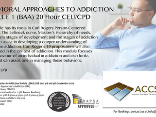 Behavioural Approaches to Addiction in JHB 2nd, 3rd and 4th September 2016