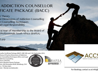 Basic Addiction Counsellor Package (BACC) in JHB 10th and 11th September 2016