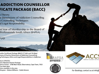 Basic & Intermediate Addiction Counsellor Certificate Packages (BACC) Durban, Johannesburg, Cape