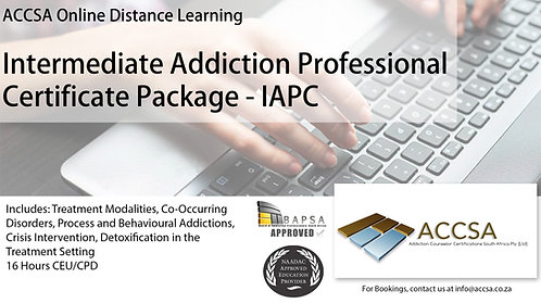Intermediate Addiction Professional Certificate Package (IAPC) 16 Hours CEU/CPD