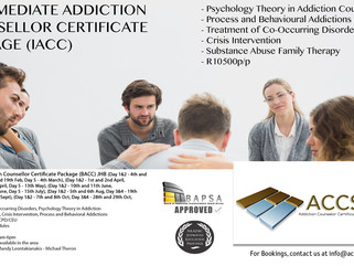 Intermediate Addiction Counsellor Certificate Package (IACC) JHB Dates & Info