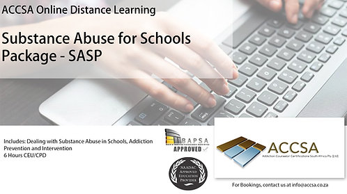 Substance Abuse in Schools Certificate Package (SASP) 6 Hours CEU/CPD