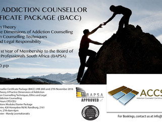 Next Basic Addiction Counsellor Certificate Package (BACC) JHB 26th and 27th of November 2016