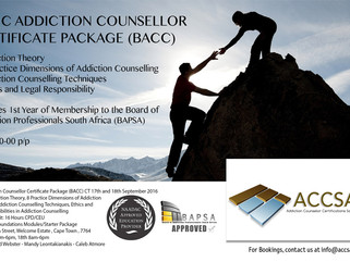 Basic Addiction Counsellor Package (BACC) in Cape Town 17th and 18th September 2016
