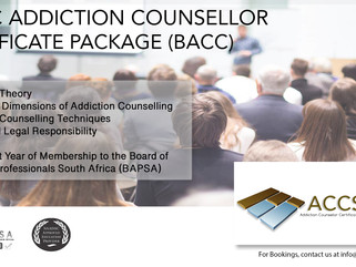 Basic Addiction Counsellor Certificate Package Dates and Venues