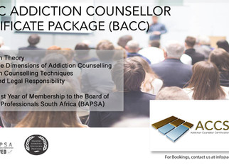Last Basic Addiction Counsellor Certificate Package for 2018 - 8th and 9th December in Johannesburg