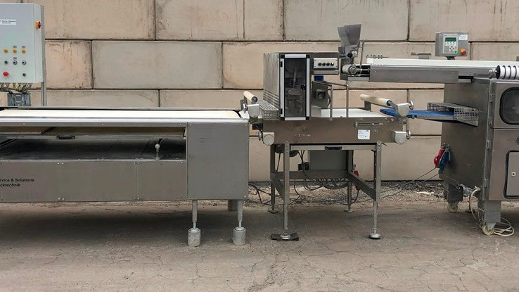 Kemper Quadro bun roll line 5-row with punch and settling device