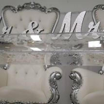 Silver Mr & Mrs Table Top Sign with 2 Piece Silver Crystal Candle Holders