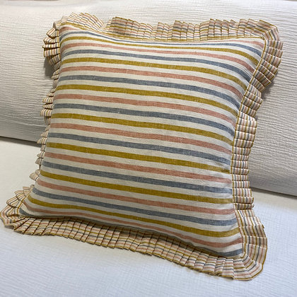 Summer Stripe Linen Pleated Square Cushion Cover