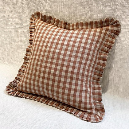 Millie Gingham Linen Pleated Square Cushion Cover