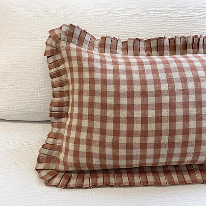 Millie Gingham Linen Pleated Rectangle Cushion Cover