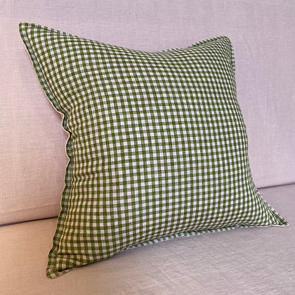 Green and Pink Gingham Linen Cushion Cover