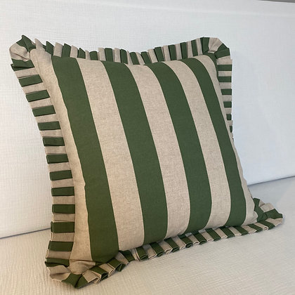 Large Stripe Cushion Cover - Green