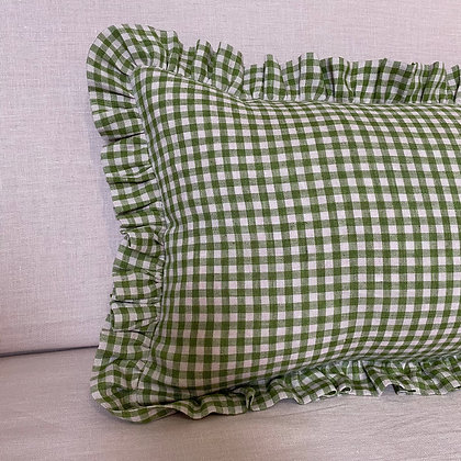 Green and Pink Gingham Rectangle Cushion Covers