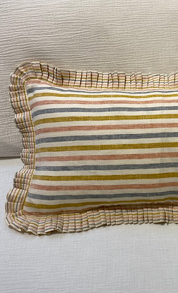 Summer Stripe Linen Pleated Rectangle Cushion Cover