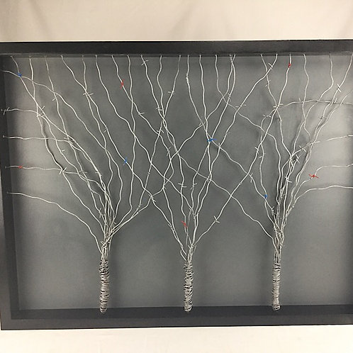 Three barbed wire trees