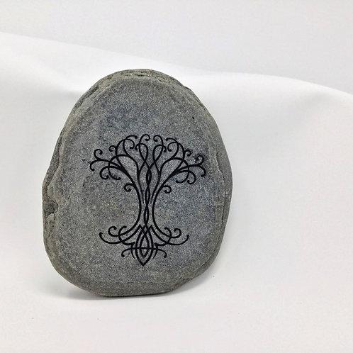 Painted sandblasted stone