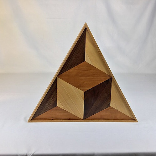 geometric cube in an isosceles triangle