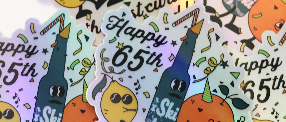 SKI Happy 65th Holographic Sticker