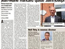 Jean-Marie Francard quitte l'Institut Saint-Joseph
