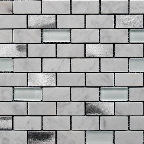 Metal Blend Aluminium/Glass/Carrara Mosaic