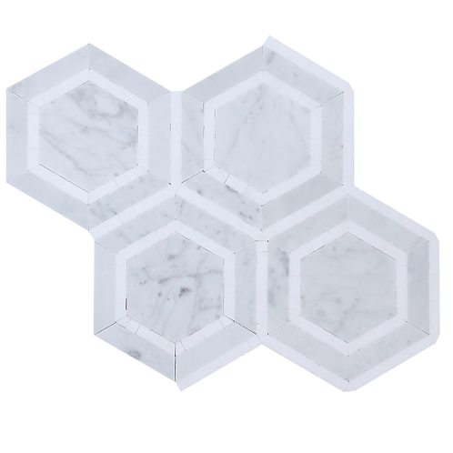 Halo Hex Honeycomb Thassos & Carrara Mosaic 310x269x10mm