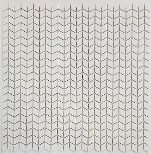 Newport White Chevron Matt Glass Mosaic 306x306x6mm