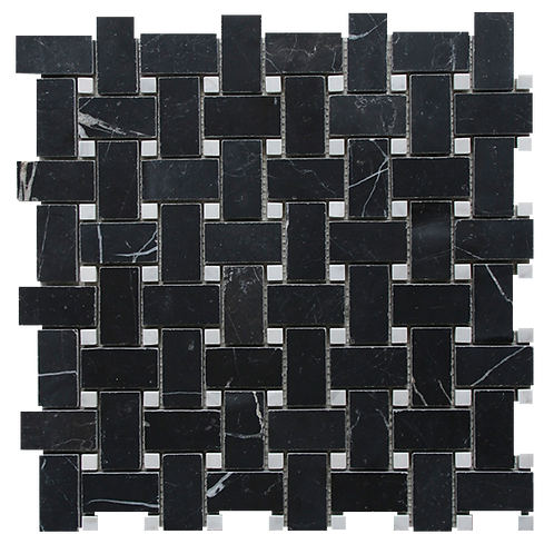 Basketweave Nero Marquina Honed & Carrara Dot 305x305x10mm