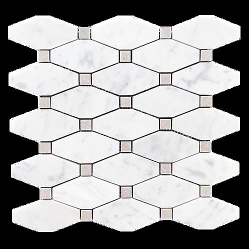 Aruba Carrara C Honed Long Octagonal & Grey Dot 285x290x10mm