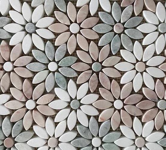 Freya Rosa Ming & Thassos Tumbled Mosaic 290x325x10mm