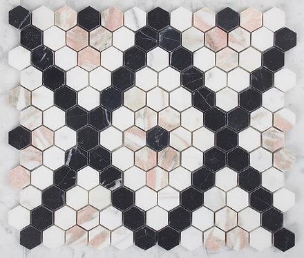 Bay Series Calcatta Gold, Fiori Rosa & Nero Marquina Honed Hexagon 317x274x10mm