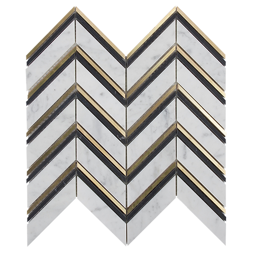 Soprano Nero Marquina, Carrara C And Brass Chevron Mosaic
