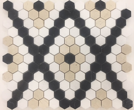 Bay Series Thassos, Crema Marfil & Nero Marquina Hexagon