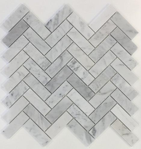 San Remo Carrara Herringbone Polished Mosaic 305x325x7mm