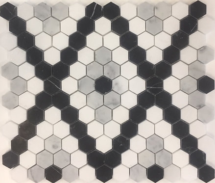 Bay Series Thassos, Carrara D & Nero Marquina Hexagon