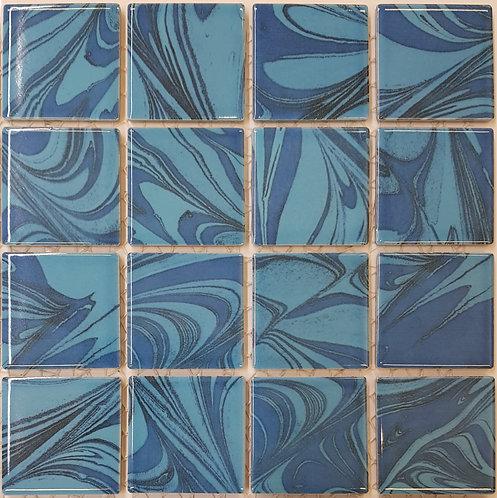 Aqua Light Blue Porcelain Mosaic 303x303x4mm (58x58mm chip)