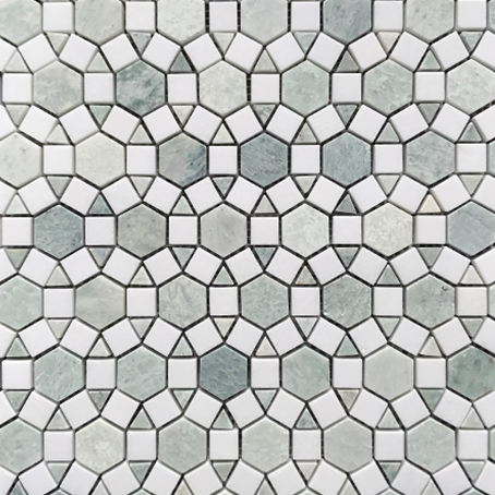 Alhambra Verdi Cristallo and Thasso Honed Mosaic 305x305x10mm