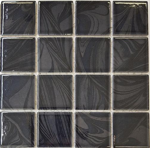 Aqua Charcoal Porcelain Mosaic 303x303x4mm (58x58mm chip)
