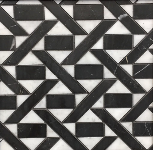 Lyrebird Trigon Carrara & Brick/Bar Nero Marquina 305x305mm