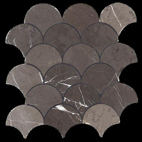 Porto Pietra Grey Honed Fan Mosaic 244x263x10mm