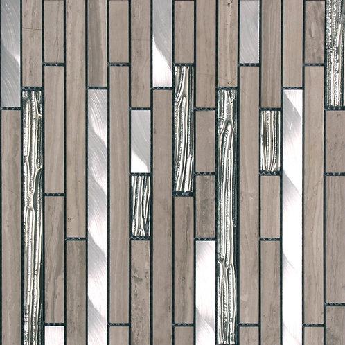 Metal Blend Grey Trav/Texture Mirror Glass/Brushed Aluminium